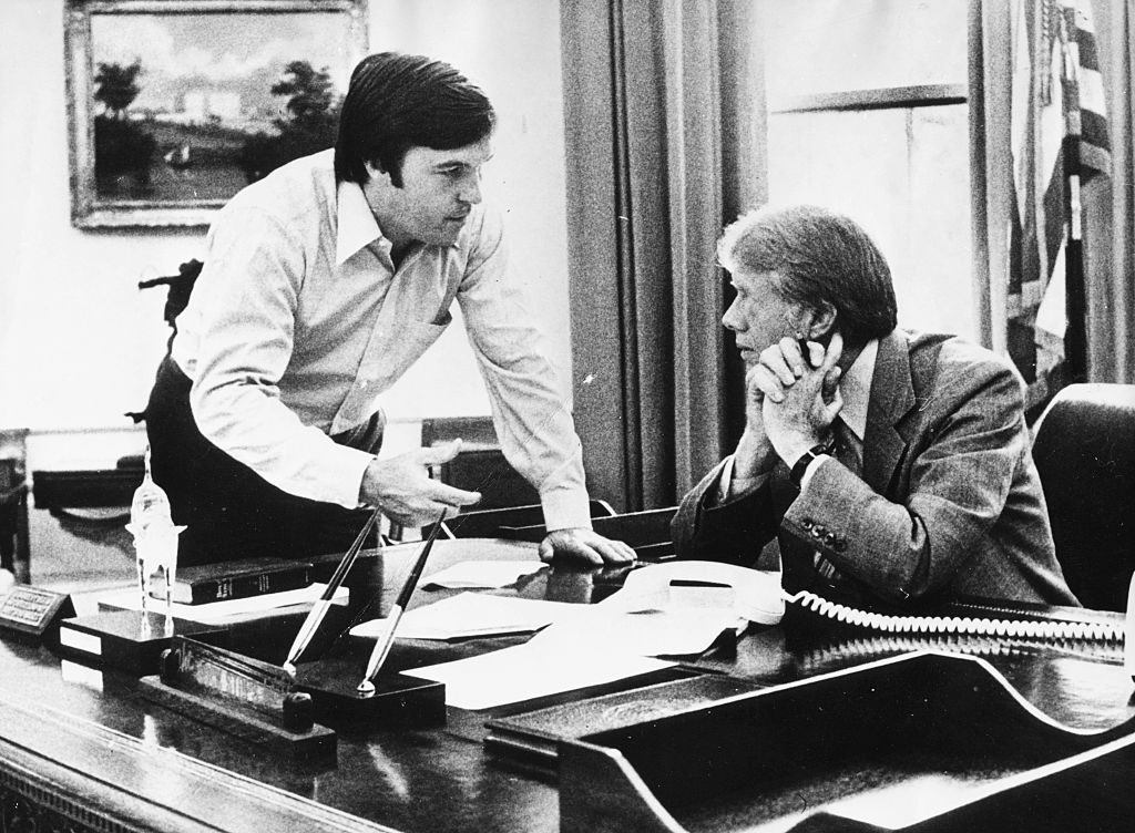 Jimmy Carter And Hamilton Jordan in the Oval Office at desk