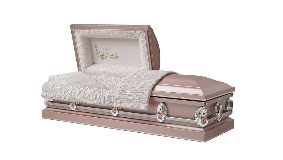 Beige casket with lid open