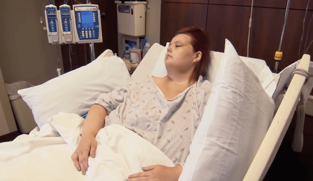 Christina Phillips in a hospital.