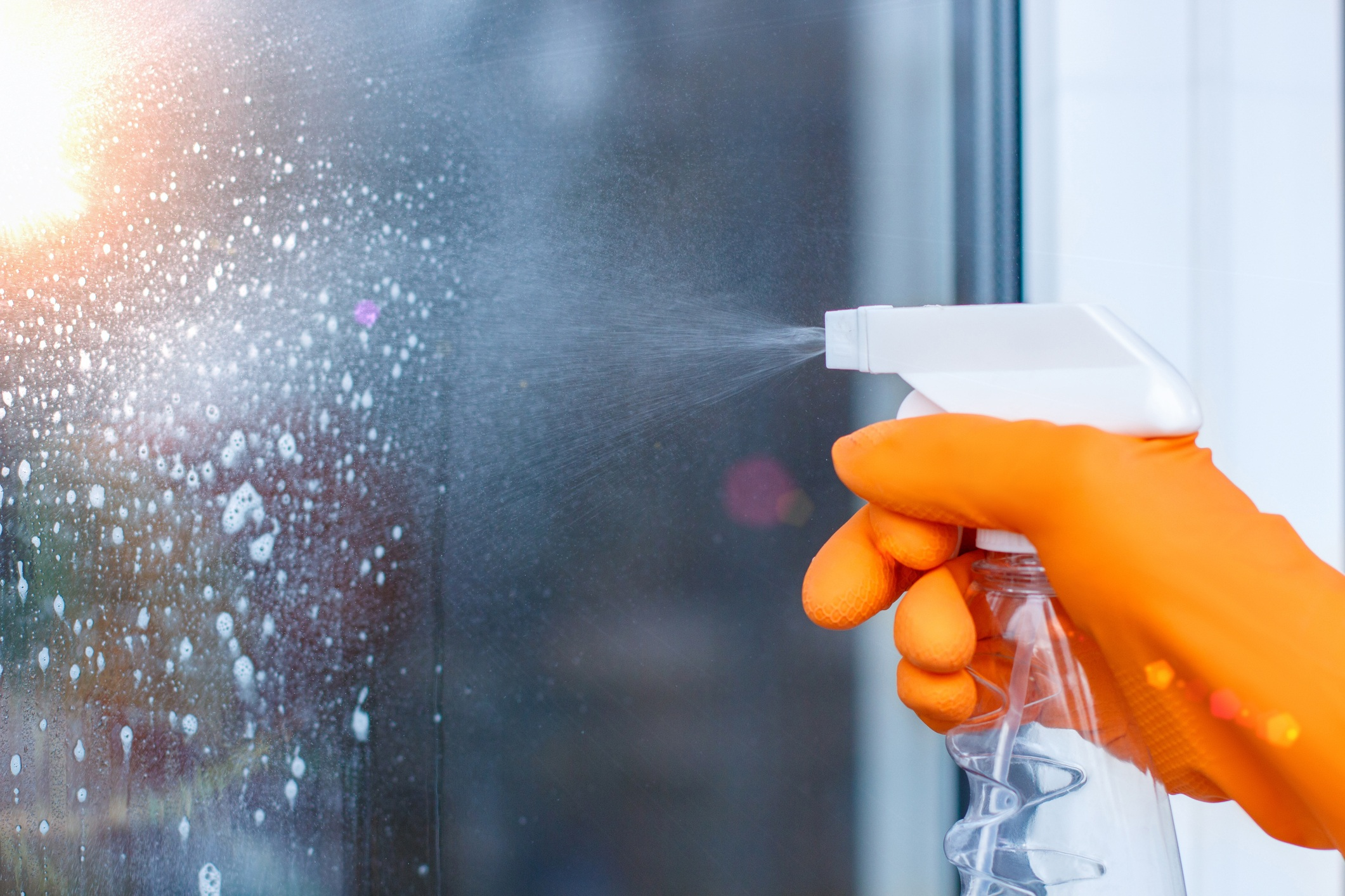Cleaning glass or shower with a spray bottle