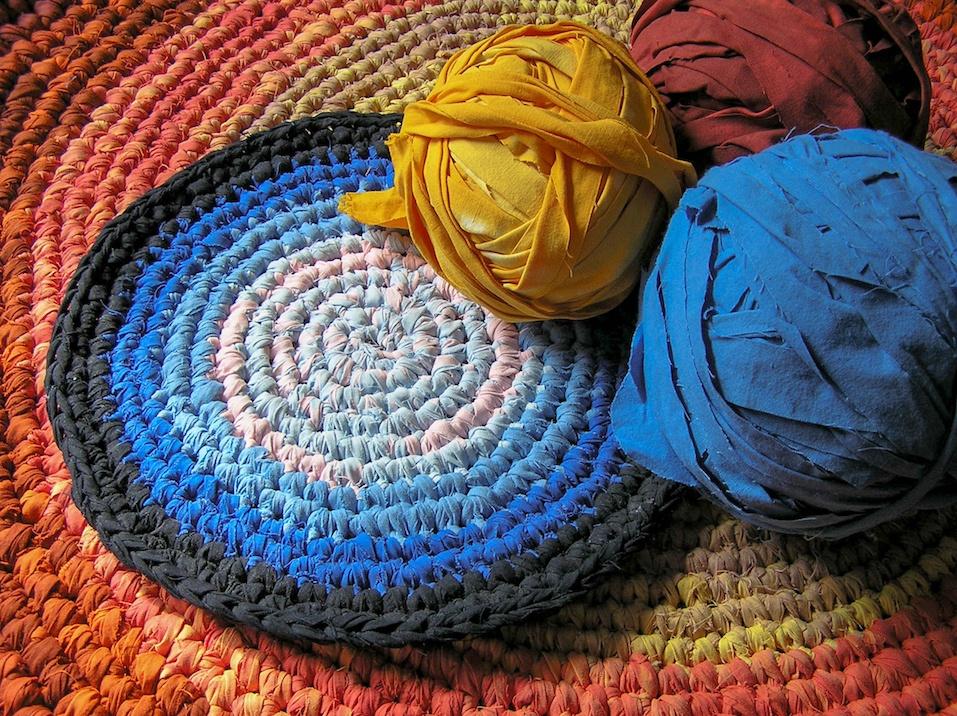 Crochet rag rugs in sunlight