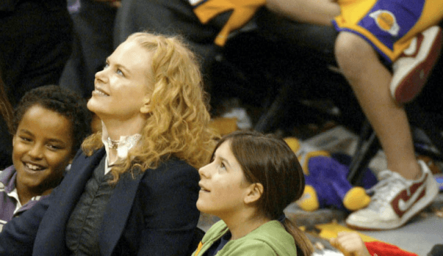 Nicole Kidman at a basketball game with her children.