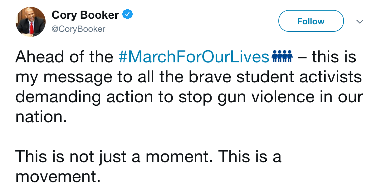 Cory Booker march for our lives
