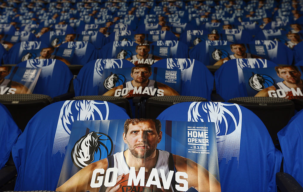 An image of Dirk Nowitzki #41 of the Dallas Mavericks on the seats before a game