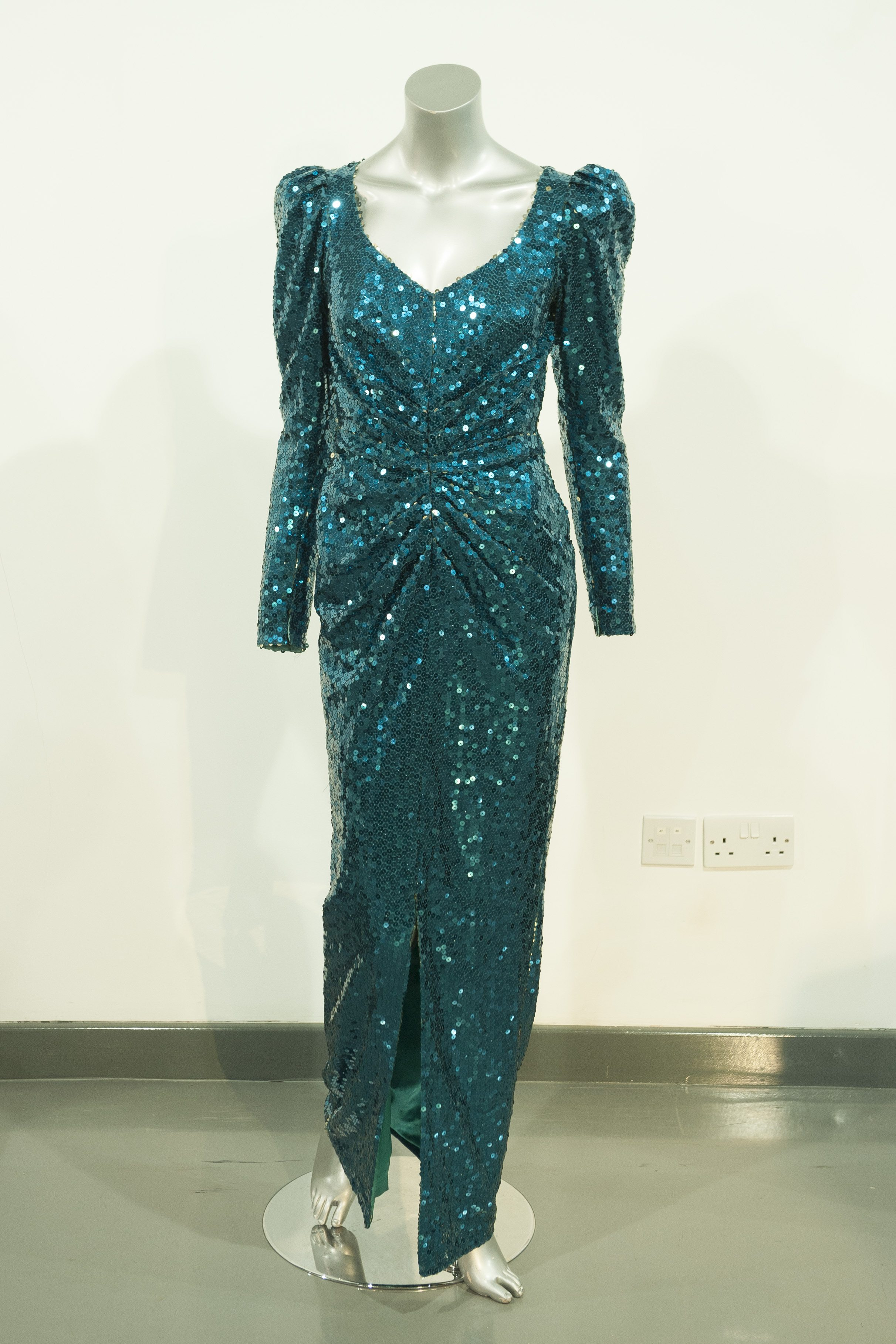 Catherine Walker Sea Green Evening Gown worn for a State visit to Austria in 1989