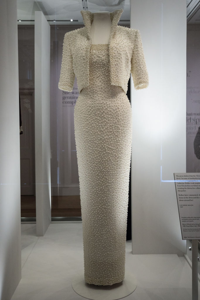 A 1989 Catherine Walker dress and jacket dress embroidered with sequins and pearls