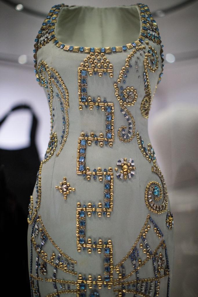 A 1991 Atelier Versace silk gown worn by Princess Diana at a Harper's Bazaar photoshoot