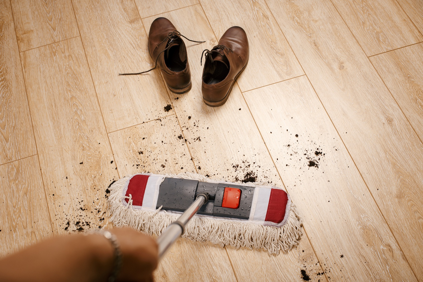 Mopping up after dirty shoes in the house