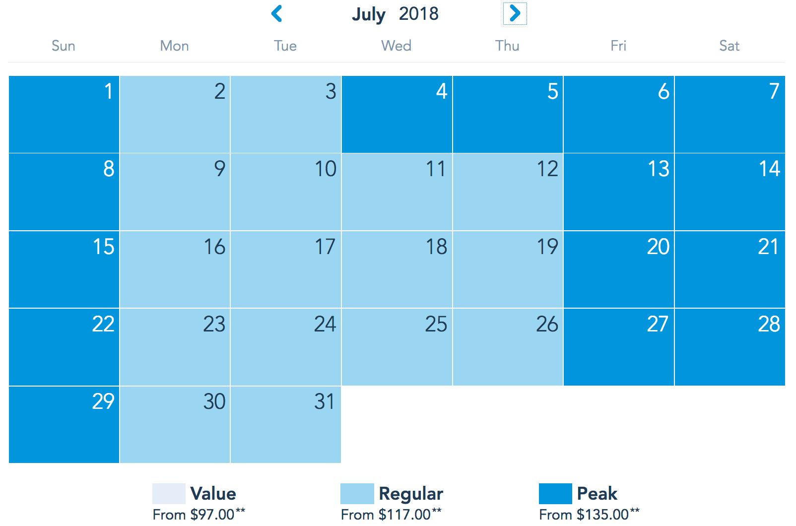 Disney ticket calendar