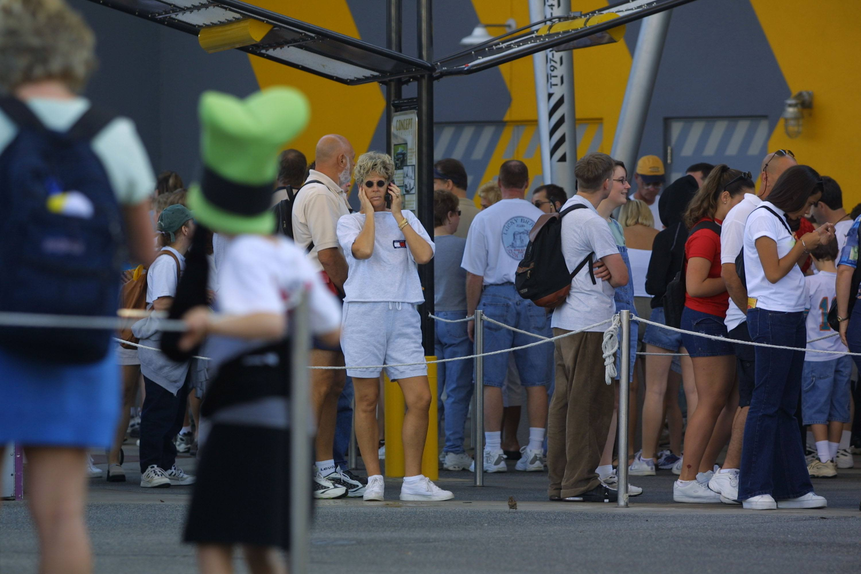 People stand in line at the Test Track ride at Walt Disney's Epcot Center