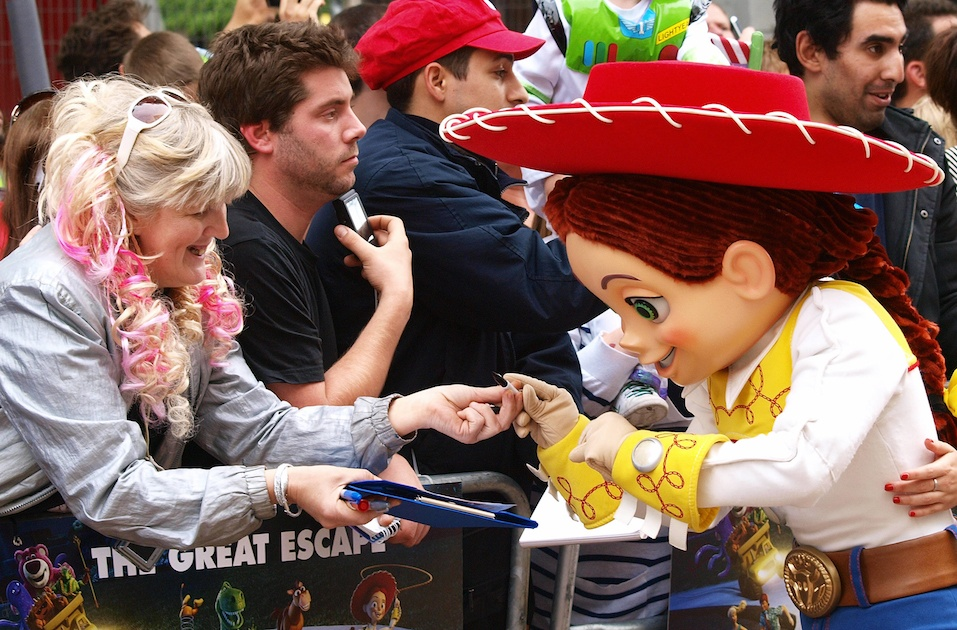 "Disney/Pixar's new 3D animation movie ""Toy Story 3"" character Jessie signs autographs"
