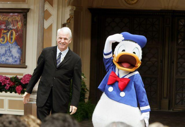 "Donald Duck and former Disneyland cast member, actor Steve Martin unveil ""Disneyland"