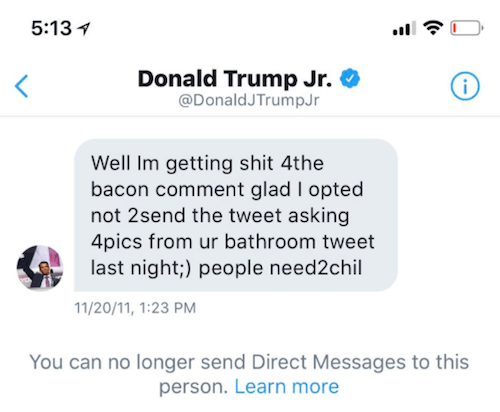 Donald Trump Jr.'s message to Melissa Stetten.