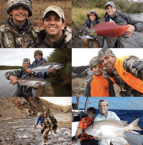 Donald Trump Jr.'s collage of him fishing with his children.