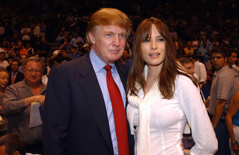 Donald Trump and Melania Knauss 2002 NBA Finals