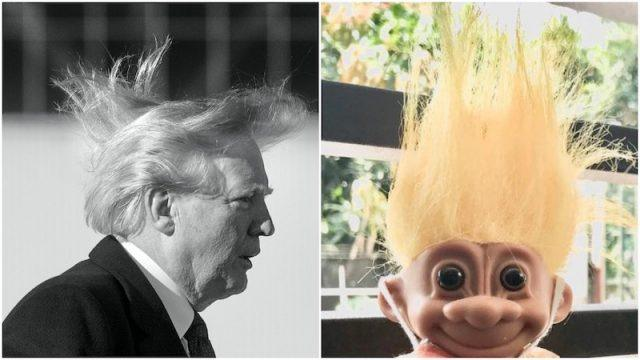 Donald Trump and Troll doll collage.