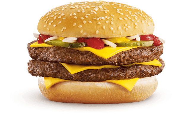 A burger with two patties and three layers of cheese.