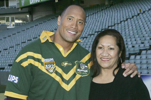 Dwayne Johnson smiling with his mother.