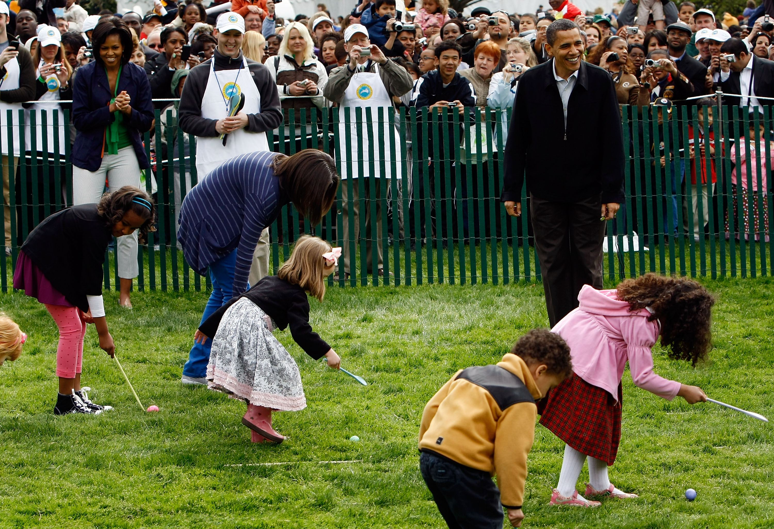 Barack Obama watched children participating in the Annual Easter Egg Roll