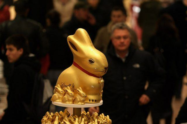 A chocolate Easter bunny is displayed for sale at a shop