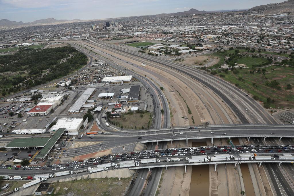 An international bridge crosses the Rio Grande which forms the U.S.-Mexico border