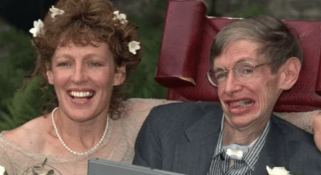 Stephen Hawking and his wife, Elaine on their wedding day.