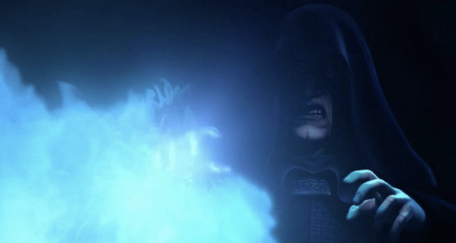 Emperor Palpatine in front of blue flames.