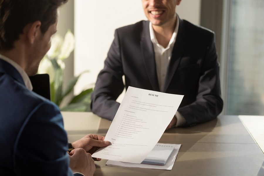 Employer conducting a job interview