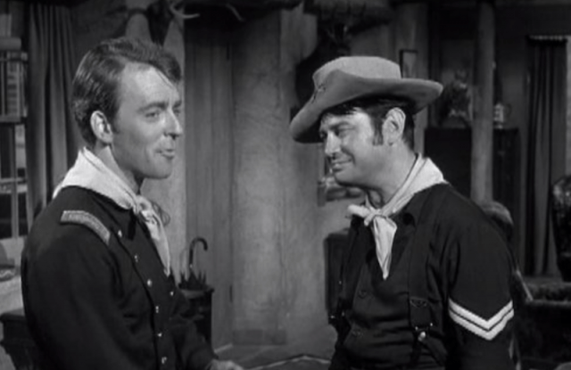 Two men speaking to each other on 'F-Troop'.