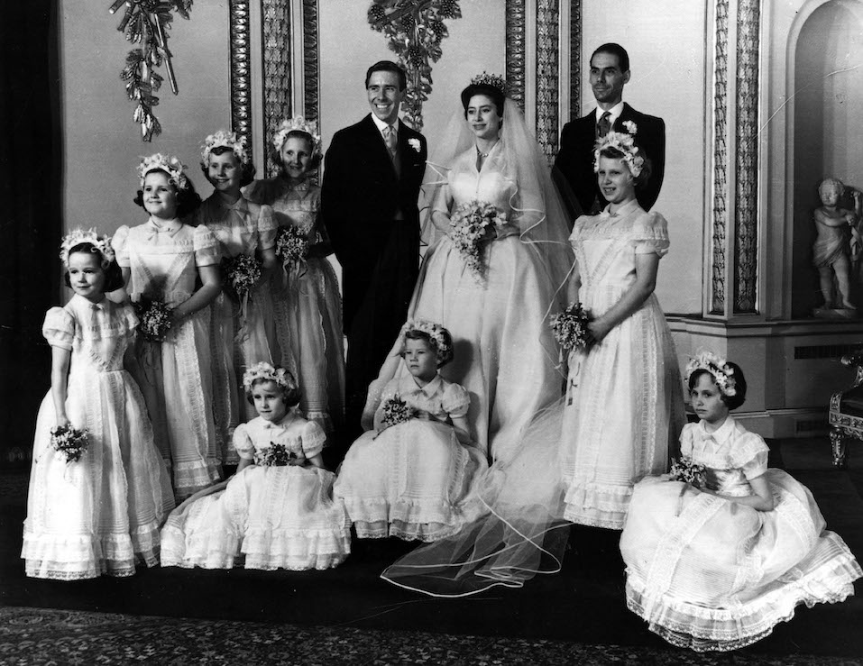 The bridal group at Buckingham Palace May 6, 1960 at the wedding of Princess Margaret and Antony Armstrong-Jones.