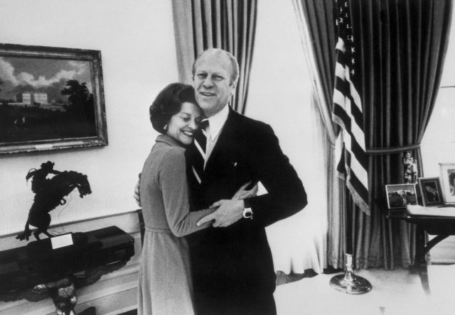 US Presidents Gerald Ford hugging his wife Betty at the White House