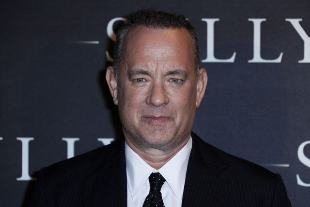 "US actor Tom Hanks poses during the photocall of US director Clint Eastwood's latest movie ""Sully"" in Paris"