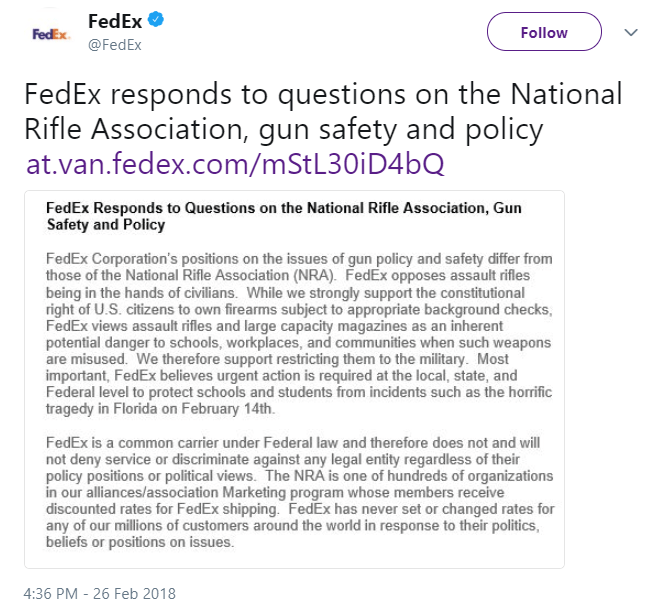 Fedex Tweet NRA