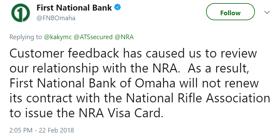 First National Bank Omaha Tweet NRA