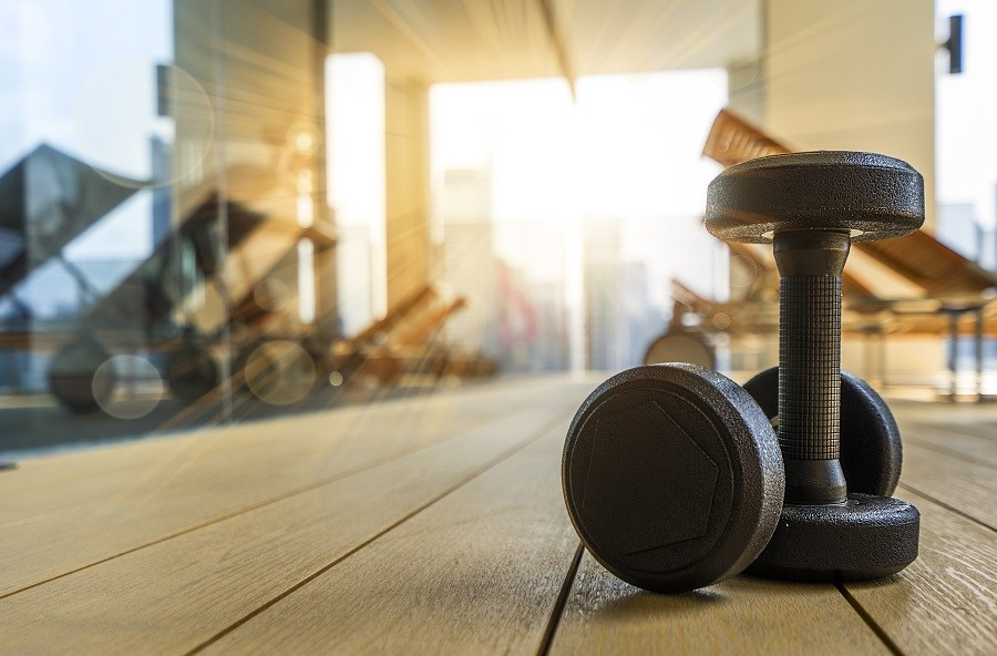 Dumbbells on the ground of a fitness room