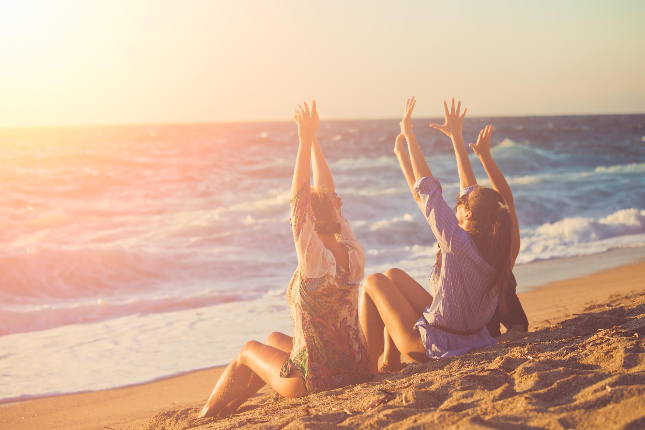 Friends enjoying at a beach