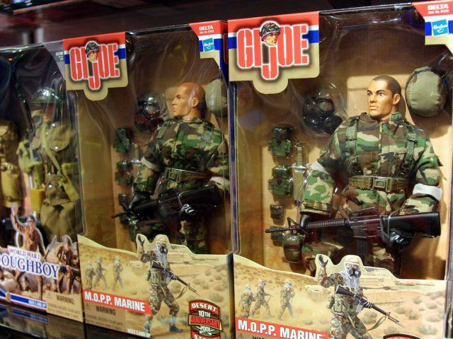 G.I. Joe action figures and accessories for sale are displayed at the FAO Schwarz toy store