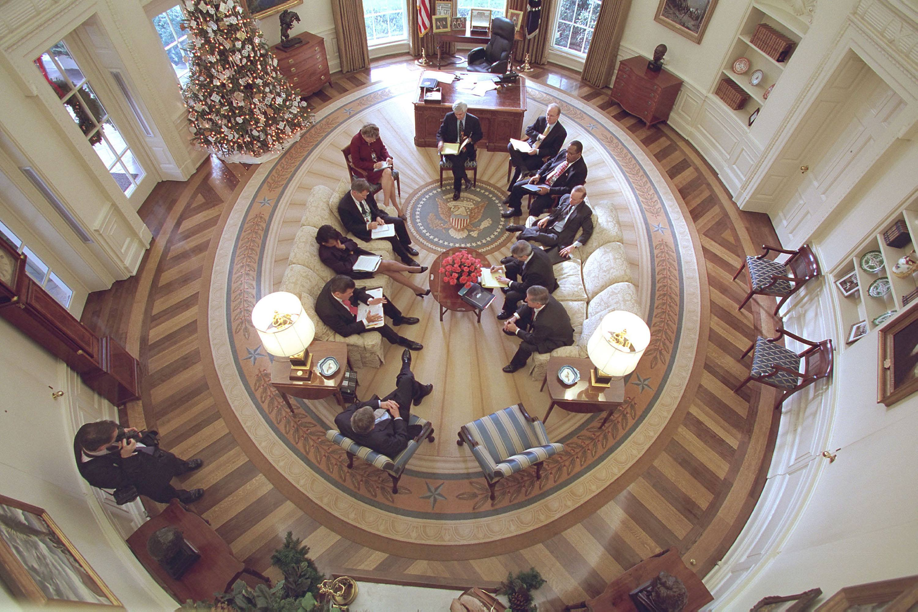President Bush Hosts Meeting in Oval Office