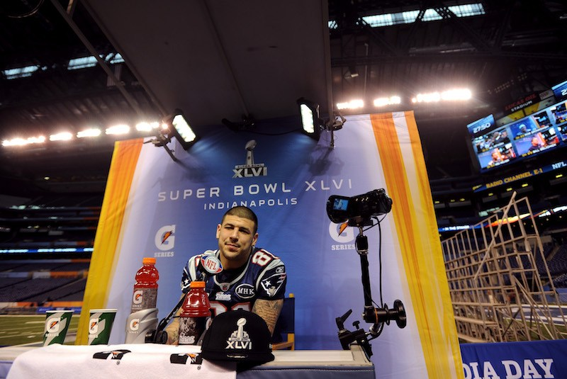 during Media Day ahead of Super Bowl XLVI between the New England Patriots and the New York Giants at Lucas Oil Stadium on January 31, 2012 in Indianapolis, Indiana.