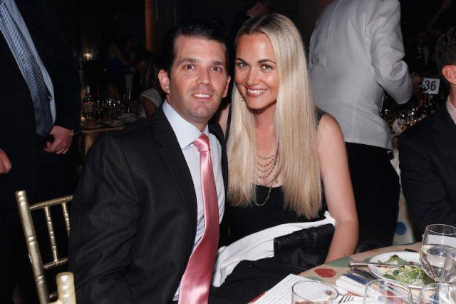 Donald Trump Jr. and Vanessa Trump sitting at dinner together.