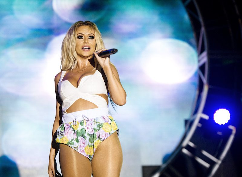 WEST HOLLYWOOD, CA - JUNE 08: Singer Aubrey O'Day of Danity Kane performs during the 2014 LA Gay Pride Festival on June 8, 2014 in West Hollywood, California. (Photo by Chelsea Guglielmino/Getty Images)