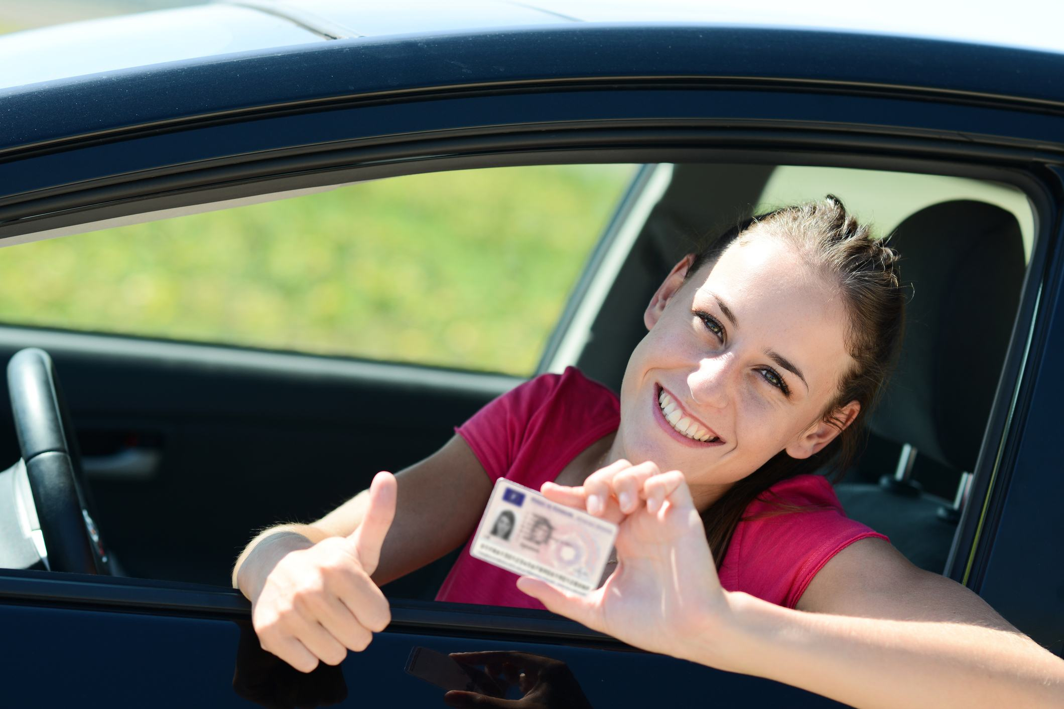woman with driver's license