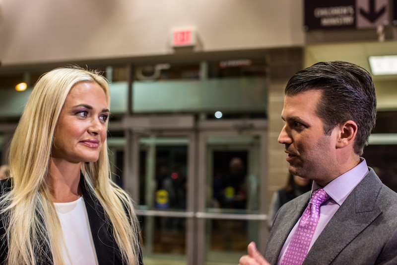Donald Trump Jr. (R) and his wife Vanessa Trump greet Republican caucus-goers in precinct 317 at Valley Church ahead of the party caucus on February 1, 2016 in West Des Moines, Iowa. The Democratic and Republican Iowa Caucuses, the first step in nominating a presidential candidate from each party, take place today.