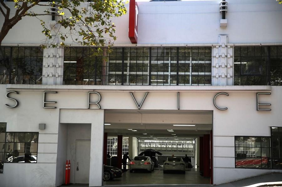 View of San Francisco Tesla service center