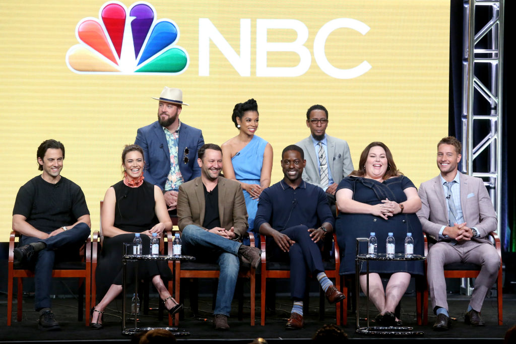 Actors Chris Sullivan, Susan Kelechi Watson, Ron Cephas Jones, Milo Ventimiglia, Mandy Moore, executive producer/showrunner Dan Fogelman, Sterling K. Brown, Chrissy Metz, and Justin Hartley of 'This Is Us' speak onstage during the NBCUniversal portion of the 2017 Summer Television Critics Association Press Tour at The Beverly Hilton Hotel on August 3, 2017 in Beverly Hills, California.