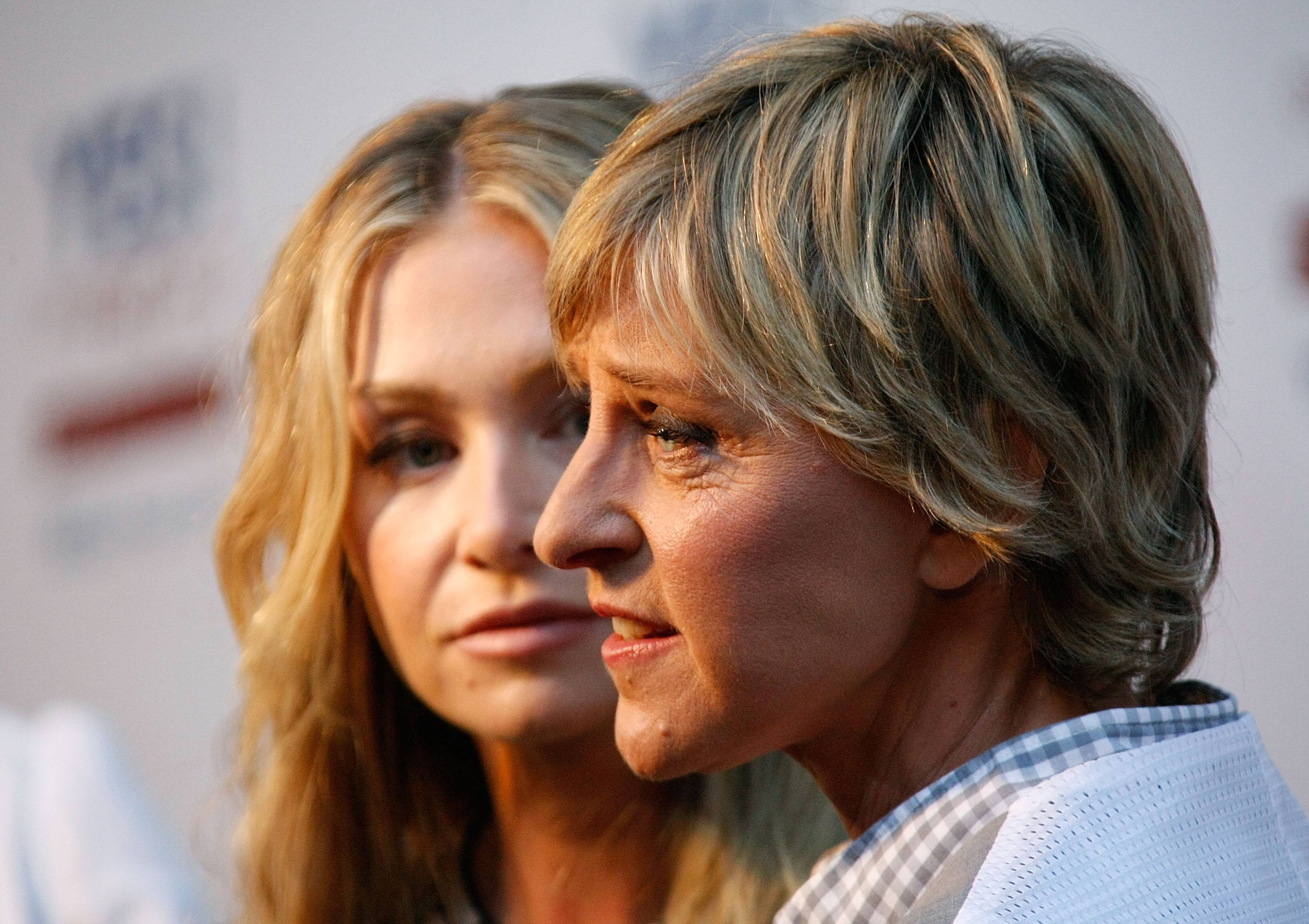 Actress Portia de Rossi (L) and comedian Ellen DeGeneres arrive at the Yes! on Prop 2 Party at a private residence on September 28, 2008 in Los Angeles, California.