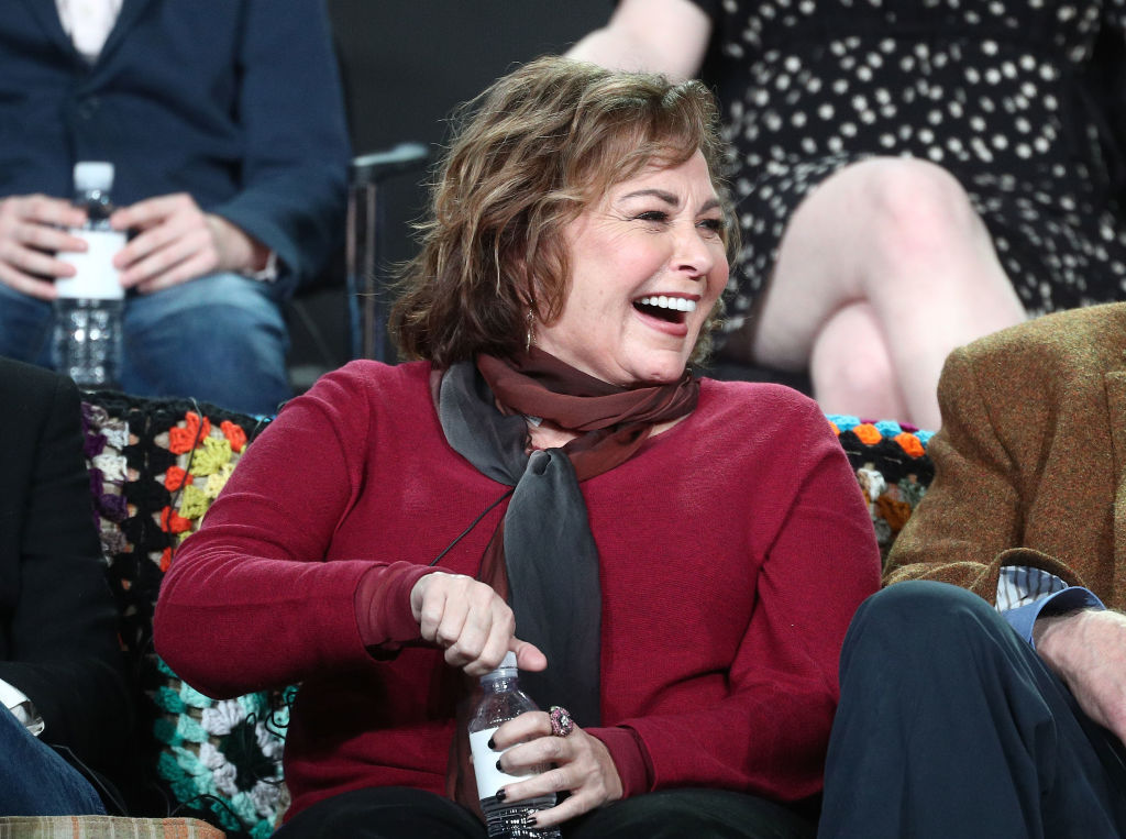 Executive producer/actress Roseanne Barr of the television show Roseanne reacts onstage during the ABC Television/Disney portion of the 2018 Winter Television Critics Association Press Tour at The Langham Huntington, Pasadena on January 8, 2018 in Pasadena, California.