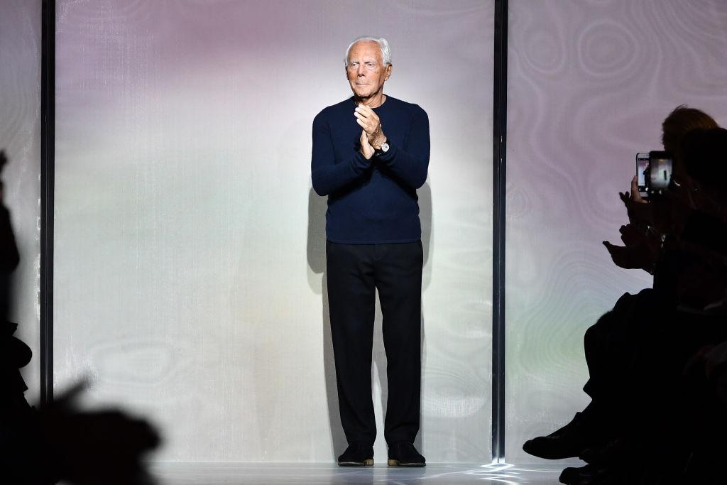Designer Giorgio Armani on a runway