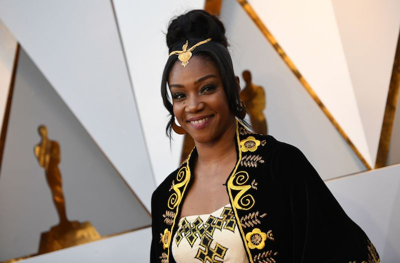 Tiffany Haddish arrives for the 90th Annual Academy Awards on March 4, 2018, in Hollywood, California. / AFP PHOTO / VALERIE MACON (Photo credit should read VALERIE MACON/AFP/Getty Images)