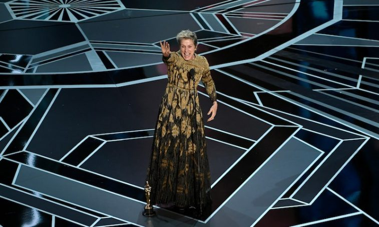 HOLLYWOOD, CA - MARCH 04: Actor Frances McDormand accepts Best Actress for 'Three Billboards Outside Ebbing, Missouri' onstage during the 90th Annual Academy Awards at the Dolby Theatre at Hollywood & Highland Center on March 4, 2018 in Hollywood, California. (Photo by Kevin Winter/Getty Images)